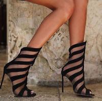 Women Gladiator Peep Toe Mesh Stiletto High Heels Ankle Boots Summer Zip Shoes