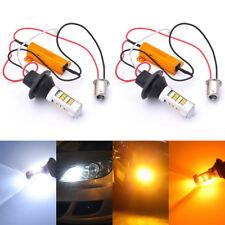 2X 1156 BAU15S Dual-Color Amber-White Switchback LED DRL Turn Signal Light Bulbs