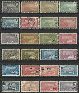 Guadeloupe, 24 different from 1905-27 set w/ surcharges and semi-postals