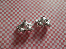 Silver Cherry Charms - Silver Plated Pewter - 14mm X 15mm Cherries - Qty 5