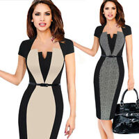 Womens Elegant Colorblock Contrast Work Business Casual Pencil Midi Sheath Dress