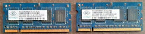 2 x NANUA NT512T64UH8BDFN-3C PC2-5300S-555-12 DDR2 512MB SODIMM Laptop - C