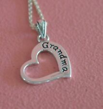 925 Sterling Silver Grandma Message Pendant Necklace - Heart Grandma Necklace