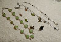 VINTAGE TO NOW ASSORTED GREEN GLASS & LUCITE BEADED SILVER TONE NECKLACE LOT