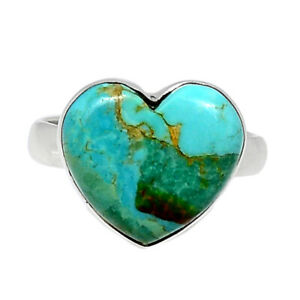 Heart - Turquoise With Matrix - USA 925 Silver Ring Jewelry s.7 BR90379