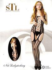 Bodystocking Sexy Lingerie Intimo Donna Rete Catsuit Nero Body Aperta Tutina