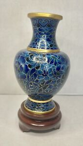 """Vintage Chinese Cloisonne Vase 9"""" and stand"""