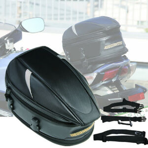 Black Motorcycle Luggage Bag Rear Seat Helmet Pack Hand Shoulder Box Case Cover