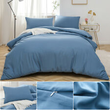 Double Size Duvet Quilt Cover Set With Pillowcase Brushed Microfiber Denim 2 SET