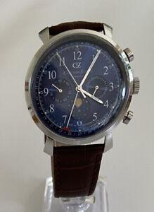Carl von Zeyten Herren Analog Quarz Uhr mit Leder Armband und blauem Zifferblatt