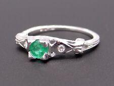 Platinum .35ct Round Cut Emerald Diamond Engagement Promise Ring Size 4.5
