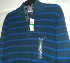 Nautica Waffle-Knit Navy Class Explorer Sweater Black & Blue Large