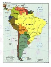 Map Geopolitical Cia 1998 South American States Replica Canvas Art Print