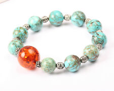 Faux Turquoise and Amber Stretch Bracelet, Vintage 1960s