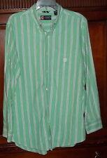 Chaps Shirt M 100% Cotton Green Stripe