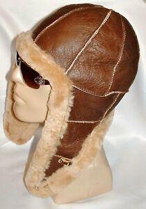 NEW Handmade Mens Sheepskin Bomber Aviator Pilot Fur Hat Real Leather size L-XL