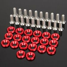 20Pcs Red Fender Bumper Washer Bolt Engine Bay Screw Kit CNC Billet Aluminum
