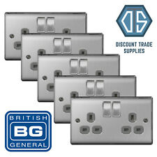5x BG Nexus Double Socket Brushed Steel Chrome Grey Insert NBS22G 2 Gang Socket