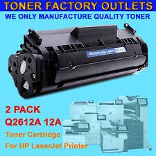 2PK Q2612A 12A Black Toner Cartridge For HP LaserJet M1319F 3055 3052 1018 1022