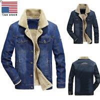 USA Mens Sherpa Demin Blue Coat Trucker Jacket Cotton Shell Winter Warm Wear