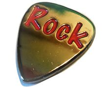 Quality Polished Metal Plectrum Guitar Pick With Enamel ROCK Logo NEW
