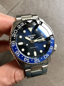 Seiko 5 Sports Blue Automatic Divers Watch mod Sapphire Crystal, ceramic bezel.