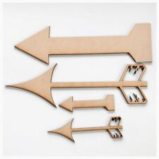 Arrow Set of 4 Plain Cut Out Timber MDF Craft Art DIY Raw Wooden Boho Rustic