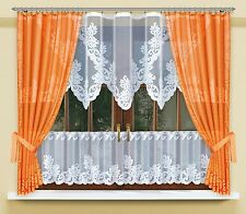 Modern, jacquard set net curtains with curtain tape WHITE/ORANGE