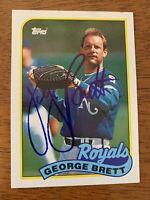 George Brett 1989 Topps Hand Signed Autographed Baseball Card W/COA Royals HOF