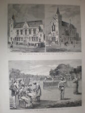 New Burgh Hall of Govan Hill and Crosshill Glasgow 1880 old print