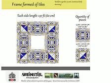 Antique Art Nouveau frame formed of 9 tiles Portuguese like ca1900