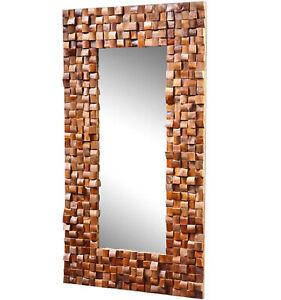 Massiver Teakholz Spiegel Mosaik Teak Wandspiegel Badspiegel Massivholz 80x120cm