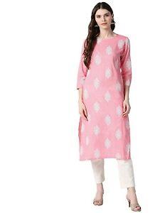 Indian Women Pink & White Printed Cotton Kurta Kurti Top Tunic Ethnic New Dress