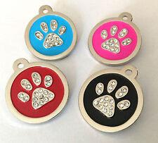 Pet ID Dog Tag 30mm Quality Large Diamante Crystal Paw Design.FREE ENGRAVING