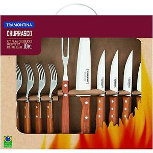 Tramontina Barbeque Set, 10 Piece, Stainless Steel Blades/Natural Wooden Handles