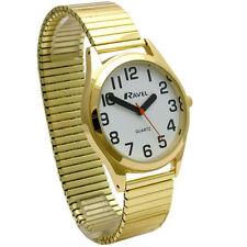 Ravel Mens  BIG BOLD NUMBER Easy Read Watch Gilt Expander Stretch Bracelet