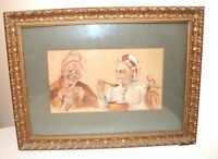 antique original figural elder couple married man lady watercolor painting frame