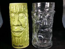 2 MOAI EASTER ISLAND HEAD TIKI BAR MUGS GLASSES GLASS CAYMAN ISLANDS