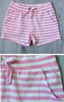 New Next Pink White striped Girls Kids Summer Cotton Shorts Sizes 4 5 11 Years