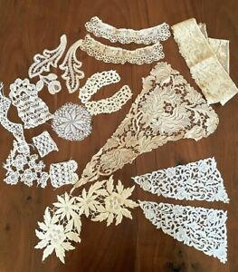 Antique Lace lot Tape Lace, Bobbin, Embroidered Appliques Ecru 18PC Collars Cuff