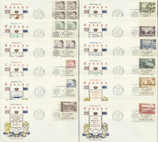 1967 #454/465B QEII Centennial Set of 12 FDCs, Chickering Jackson Cachets, VF