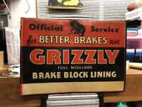 Early Grizzly Brakes Tin Not Porcelain Sign Original Block Lining Vintage Rare!