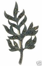 Leaf Branch Pin Brooch ' Solid 925 Sterling Silver Marcasite