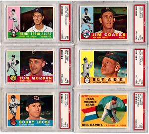 (6 ct lot) 1960 Topps #26, #33, #44, #51, #106, #128 PSA 7 - 7.5 - BH24