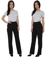 Ladies Black Womens Work Trousers Office Formal Straight Leg Pants Size 8 and 10