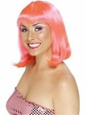 Party Wig Neon Pink Fringed Wig 80's Wig Pink - Ladies Fancy Dress