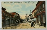 Carnegie Pa Main St Looking East Pennsylvania c1910 Postcard M10