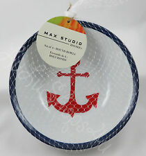 Max Studio 4 Nautical Red Anchor melamine blue white bowls cereal soup salad