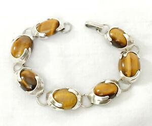 """Vintage Hand Made Sterling Silver and Tiger Eye Link Bracelet 7-1/2"""""""