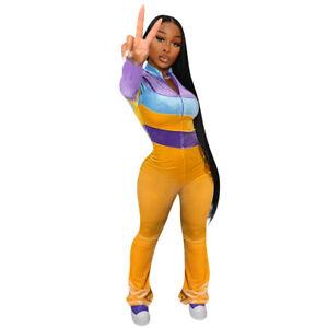 Fashion Women's Colorblock Long Sleeves Patchwork Bodycon Velvet Club Jumpsuit